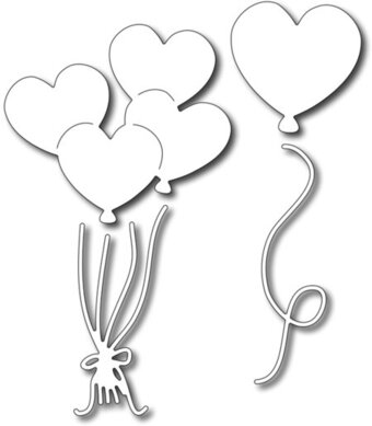 Frantic Stamper Precision Dies - Heart Balloons (set of 4)