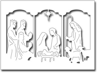 Frantic Stamper Dies - Triptych Nativity Card Panel