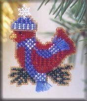 Snowcapped Red Bird 2002 - Beaded Cross Stitch Kit