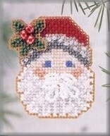 Mistletoe Santa 2003 - Beaded Cross Stitch Kit