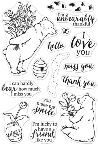 Unbearably Thankful - Valentines Clear Stamp