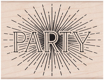 Party - Wood Mounted Rubber Stamp