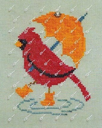Rainy Day Cardinal - Cross Stitch Pattern