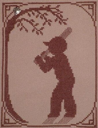 Baseball Player (w/charm) - Cross Stitch Pattern