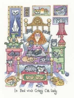 In Bed With Crazy Cat Lady - Cross Stitch Pattern