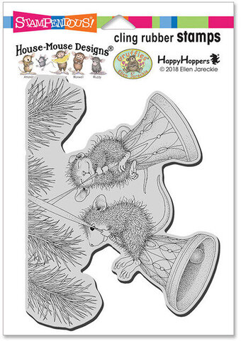 Bell Swinging - House Mouse Christmas Cling Rubber Stamp