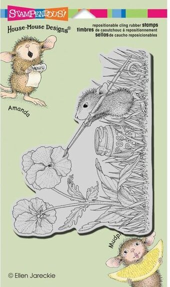 Painted Pansies - House Mouse Cling Rubber Stamp