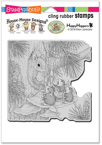 Squirrel Singers - House Mouse Christmas Cling Rubber Stamp