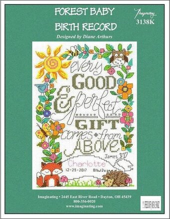 Forest Baby Birth Record - Cross Stitch Kit