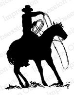 Rodeo Sihouette 2 - Cling Rubber Stamp
