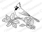 Holly Cardinal - Christmas Cling Rubber Stamp