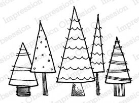 Patterned Trees - Christmas Cling Stamp