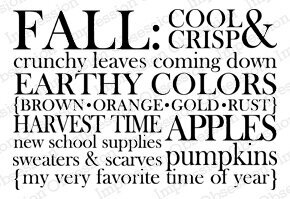 Fall Words - Cling Rubber Stamp