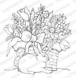 Rabbit with Flower Basket - Cling Rubber Stamp