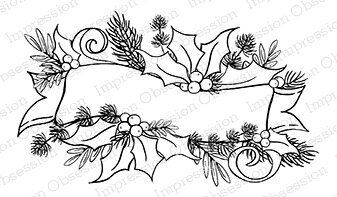 Holly Banner - Cling Rubber Stamp