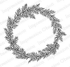 Delicate Pine Wreath - Cling Rubber Stamp