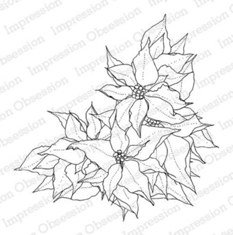 Poinsettia Corner - Christmas Cling Stamp