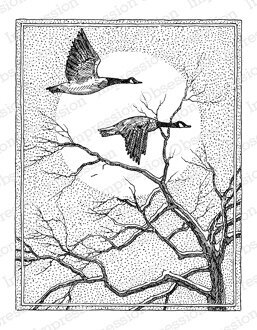 Geese and Tree - Cling Rubber Stamp