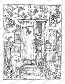 Barnyard Outhouse - Cling Rubber Stamp