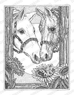 Two Horses - Cling Rubber Stamp