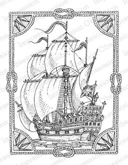 Roped Ship - Cling Rubber Stamp