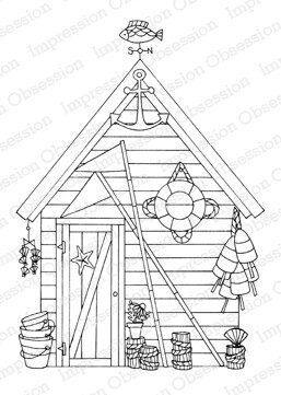 Seaside Shack - Wood Mounted Rubber Stamp