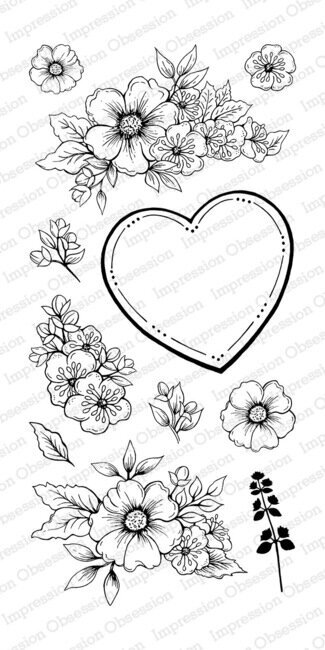 Floral Heart - Clear Stamp