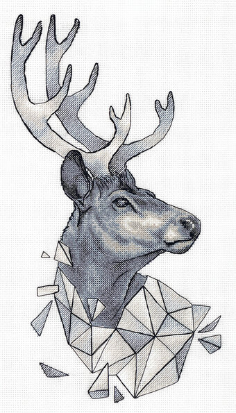 Geometric Deer - Cross Stitch Kit