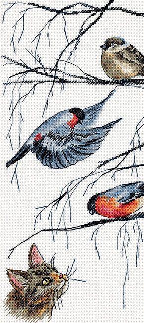 Birds and a Curious Cat - Cross Stitch Kit
