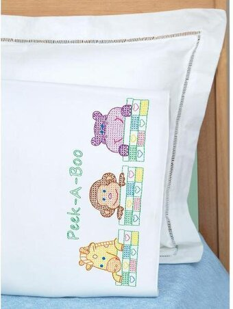 Peek A Boo Children's Pillowcase Stamped Cross Stitch Kit