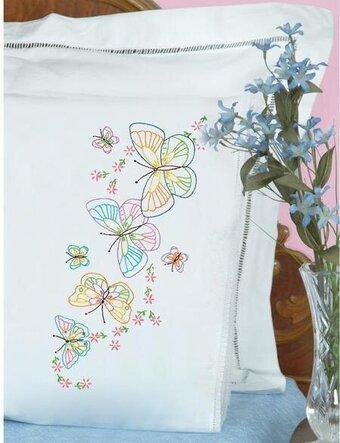 Jack Dempsey Needle Art Butterflies Galore Pillowcase Doll