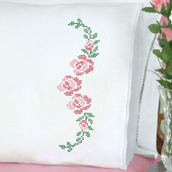 Rose Vine Lace Edge Pillowcases - Stamped Cross Stitch Kit
