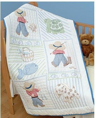 Little Boy Crib Quilt Top - Stamped Cross Stitch Kit