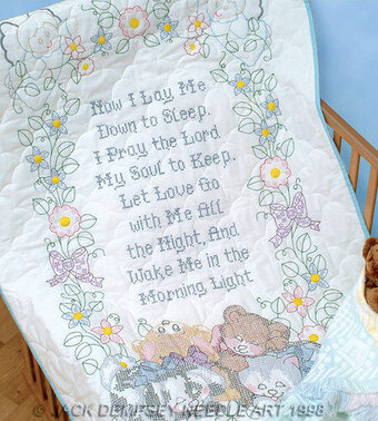 Now I Lay Me Down to Sleep Crib Quilt Top - Cross Stitch