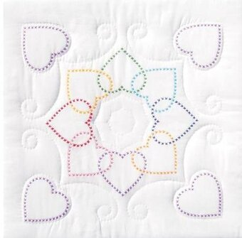 "Hearts Circle 18"" Quilt Squares - Stamped Stitch Kit"