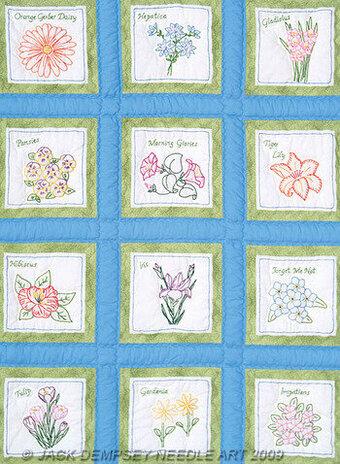 Jack Dempsey Needle Art Flowers 9 Quot White Quilt Square