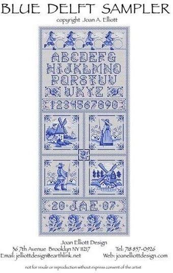 Blue Delft Sampler - Cross Stitch Pattern