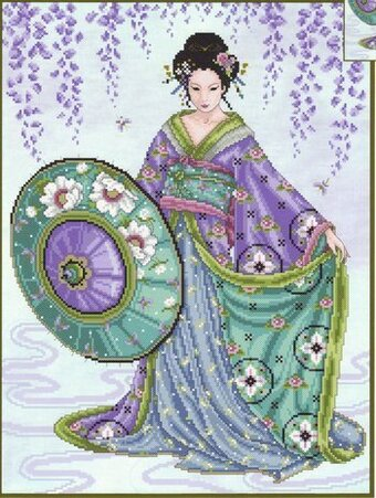 Joan Elliott Blue Geisha Cross Stitch Pattern