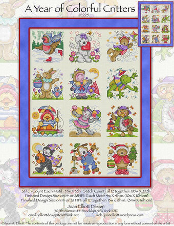 A Year of Colorful Critters - Cross Stitch Pattern