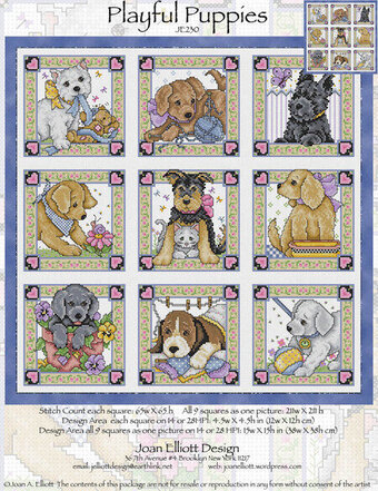 Nine Playful Puppies - Cross Stitch Pattern