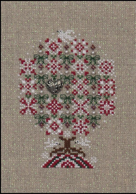 Peppermint Snowflakes Tree (w/emb) - Cross Stitch Pattern