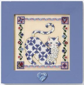 Sapphire Quilted Cat - Cross Stitch Kit