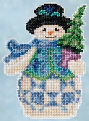 Evergreen Snowman - Jim Shore Beaded Cross Stitch Kit