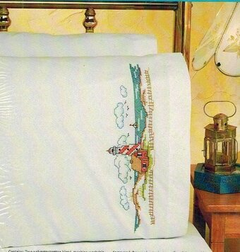 Lighthouse Pillowcase Pair - Stamped Cross Stitch Kit