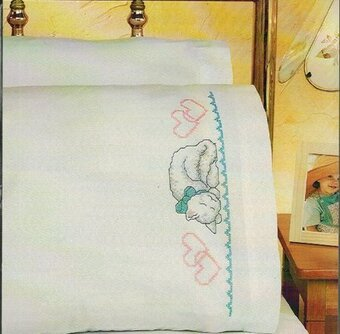 Kitty Pillowcase Pair - Stamped Cross Stitch Kit