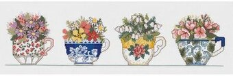 Row of Teacups - Cross Stitch Kit