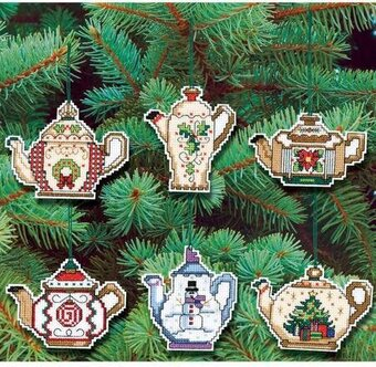 Christmas Teapot Ornaments - Cross Stitch Kit