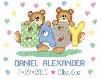 Teddy Baby Sampler Birth Record - Cross Stitch Kit