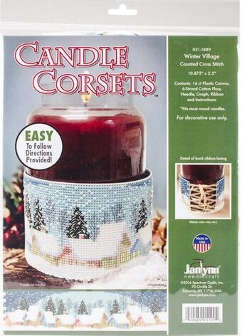 Winter Village Candle Corset - Christmas Cross Stitch Kit