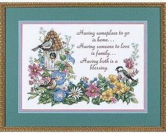 Flowery Verse - Stamped Cross Stitch Kit